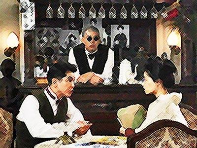 おちょやん ネタバレ5週21話 宮元店長とボーイの平田六郎のイラスト