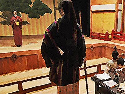 おちょやん ネタバレ5週24話 千代の芝居を試験する千鳥のイラスト