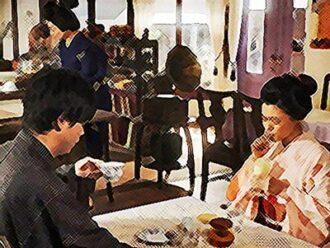 おちょやん ネタバレ9週44話 福富楽器店で喫茶する一平と千代のイラスト