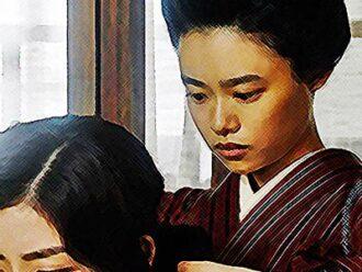 おちょやん ネタバレ7週32話 弥生の髪を結う千代のイラスト