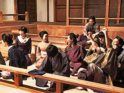 おちょやん ネタバレ11週51話 大山社長に認められて喜ぶ劇団員のイラスト