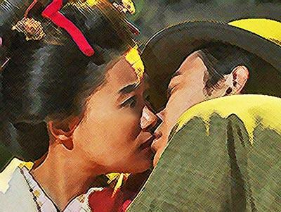 おちょやん ネタバレ12週56話 千代にキスする一平のイラスト