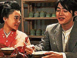 おちょやん ネタバレ12週60話 懐かしい茶粥を口にする千代とヨシヲのイラスト