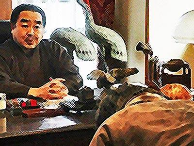 おちょやん ネタバレ15週73話 大山社長に頭を下げるテルヲのイラスト