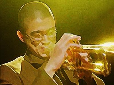 おちょやん ネタバレ17週82話 思い切りトランペットを吹く福助のイラスト