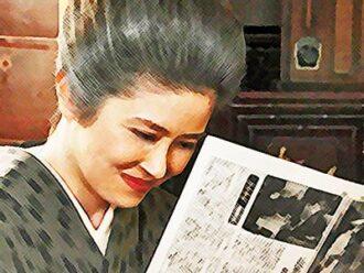 おちょやんネタバレあらすじ22週107話 千代の記事を見つめる栗子のイラスト