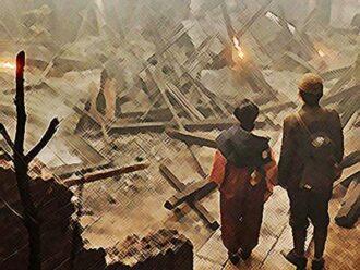 おちょやん ネタバレ18週86話 空襲で瓦礫と化した道頓堀のイラスト