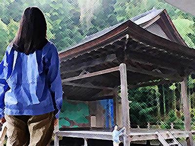 おかえりモネ あらすじネタバレ1週2話 能舞台を見学する百音のイラスト