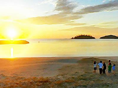 おかえりモネ ネタバレあらすじ3週15話 朝日の浜辺を歩く百音と幼なじみたちのイラスト
