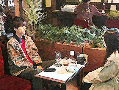 おかえりモネ ネタバレあらすじ 16週77話 喫茶店で話す百音と亮のイラスト